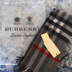 NEW-Authentic Burberry Scarf Gray + Black/Red Stripe